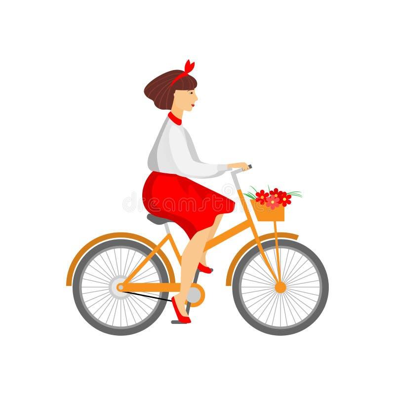 Bicyclette orange de jolie équitation de femme avec des fleurs dans le panier d'isolement sur le blanc illustration stock