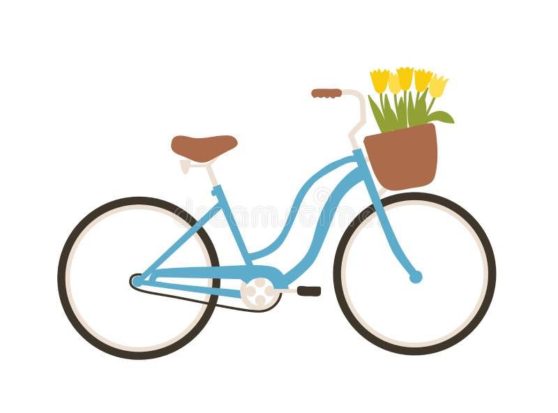 Bicyclette ou vélo urbain de ville avec étape-à travers le cadre et panier avant complètement des fleurs de ressort d'isolement s illustration stock