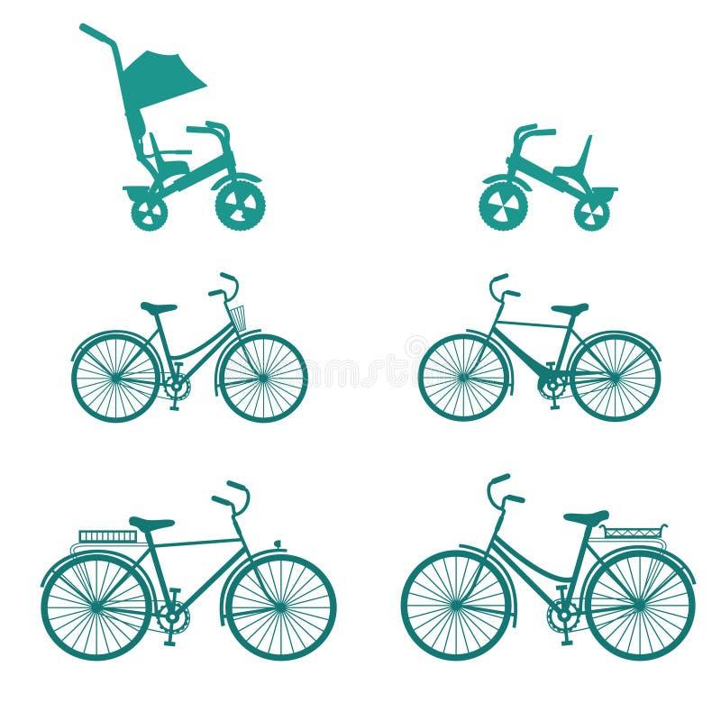 Bicyclette réglée pour la famille Placez des bicyclettes de silhouette d'isolement sur le fond blanc Ic?nes plates de vecteur illustration de vecteur