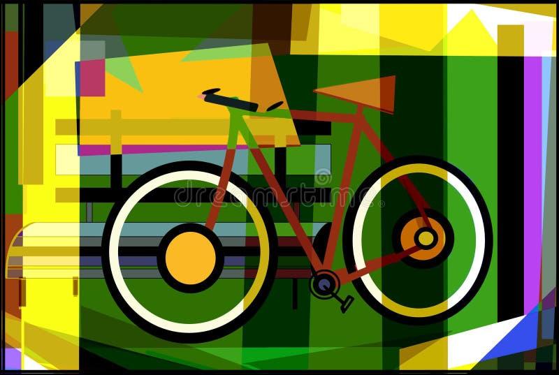 bicyclette se reposant sur le banc illustration libre de droits