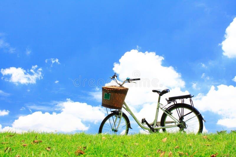 Bicyclette sur l'herbe verte images libres de droits