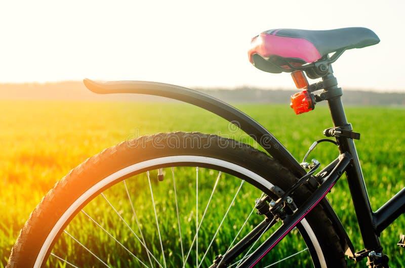 Bicyclette sur la fin de nature, voyage, mode de vie sain, promenade de pays images stock
