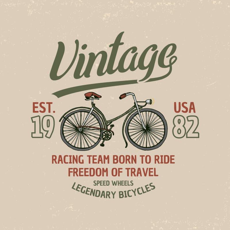 Bicyclette, vélo ou vélo sur rail Illustration de course emblème ou label de logo, gravé tiré par la main dans le vieux croquis e illustration libre de droits