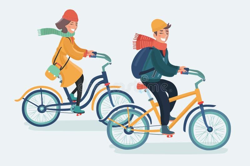 Bicyclettes élégantes d'équitation d'homme et de femme L'homme s'est habillé dans un manteau, le pantalon et l'écharpe illustration libre de droits