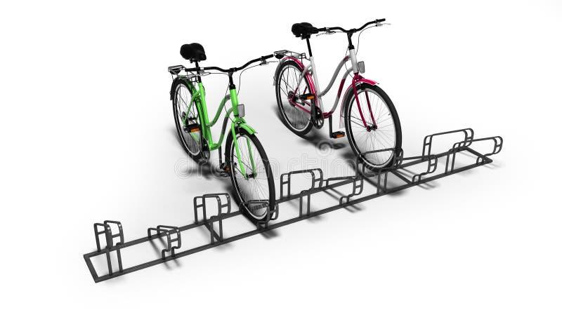 Bicyclettes avec le sort de bicyclette de l'arrêt local 3D rendre sur le fond blanc avec l'ombre illustration de vecteur