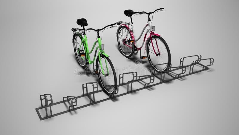 Bicyclettes avec le sort de bicyclette de l'arrêt local 3D rendre sur le fond gris avec l'ombre illustration stock