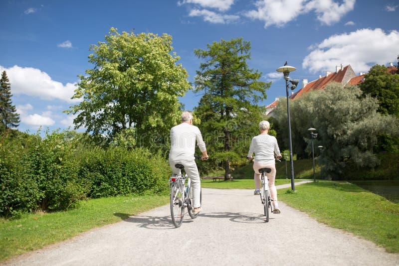 Bicyclettes de monte de couples supérieurs au parc d'été image libre de droits