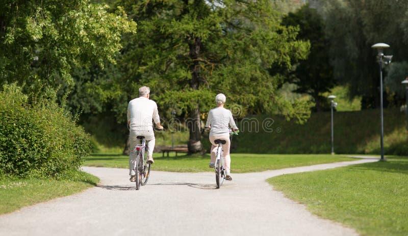 Bicyclettes de monte de couples sup?rieurs au parc d'?t? photos libres de droits