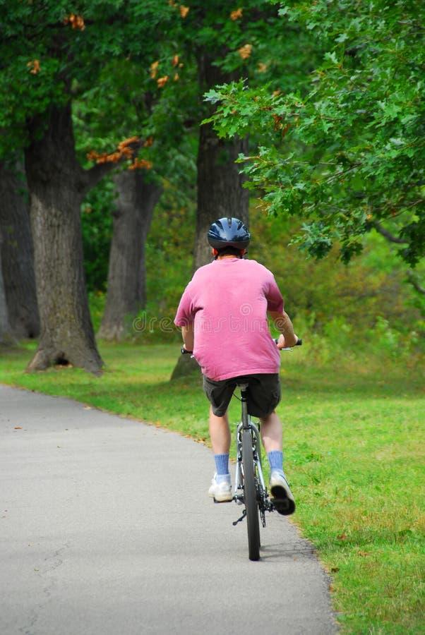 Bicycling do homem imagem de stock