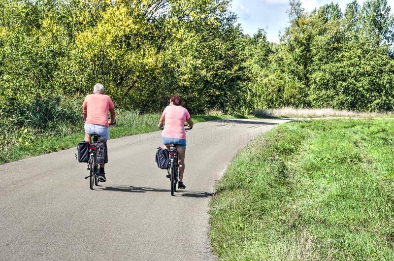 Bicycling em uma estrada asfaltada imagem de stock royalty free