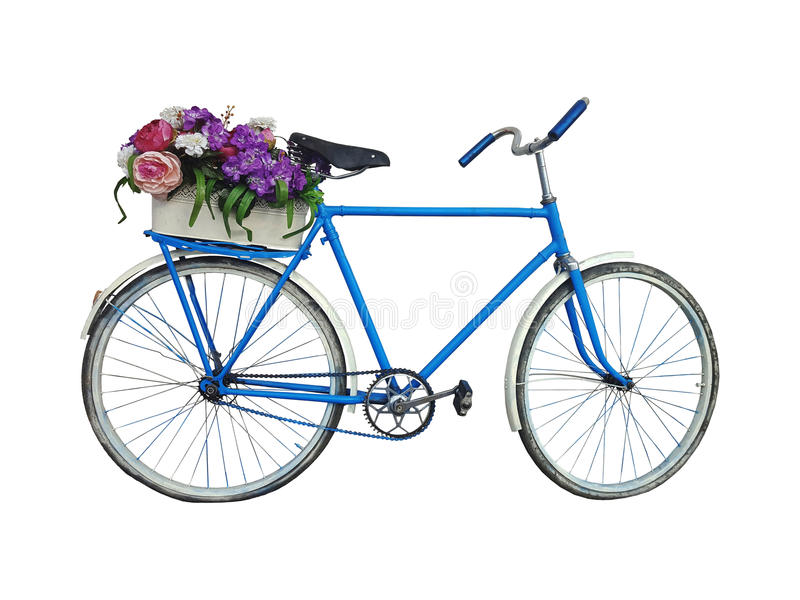 Bicycle with basket of flowers stock photo