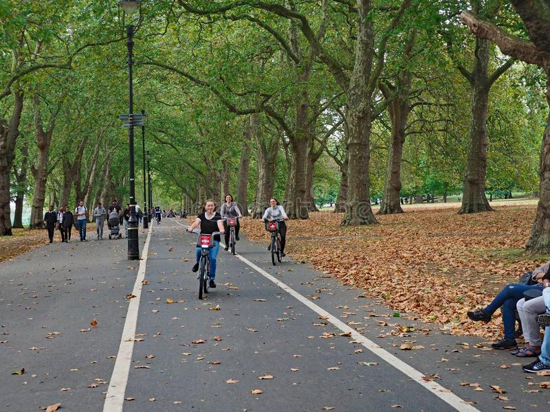 Bicycling in London Hyde Park stock photo