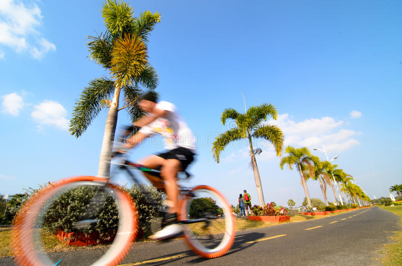 Nakhon Ratchasima, Thailand:Bicycling. Man was riding bicycle in the Bung Ta Luapark Nakhon Ratchasima, Thailand stock photos