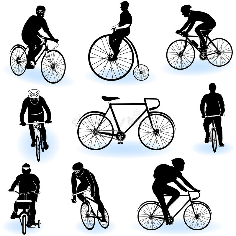 Download Bicycling silhouettes stock vector. Image of group, male - 19217677