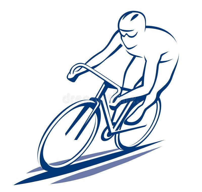 Bicyclist στο οδικό ποδήλατο διανυσματική απεικόνιση
