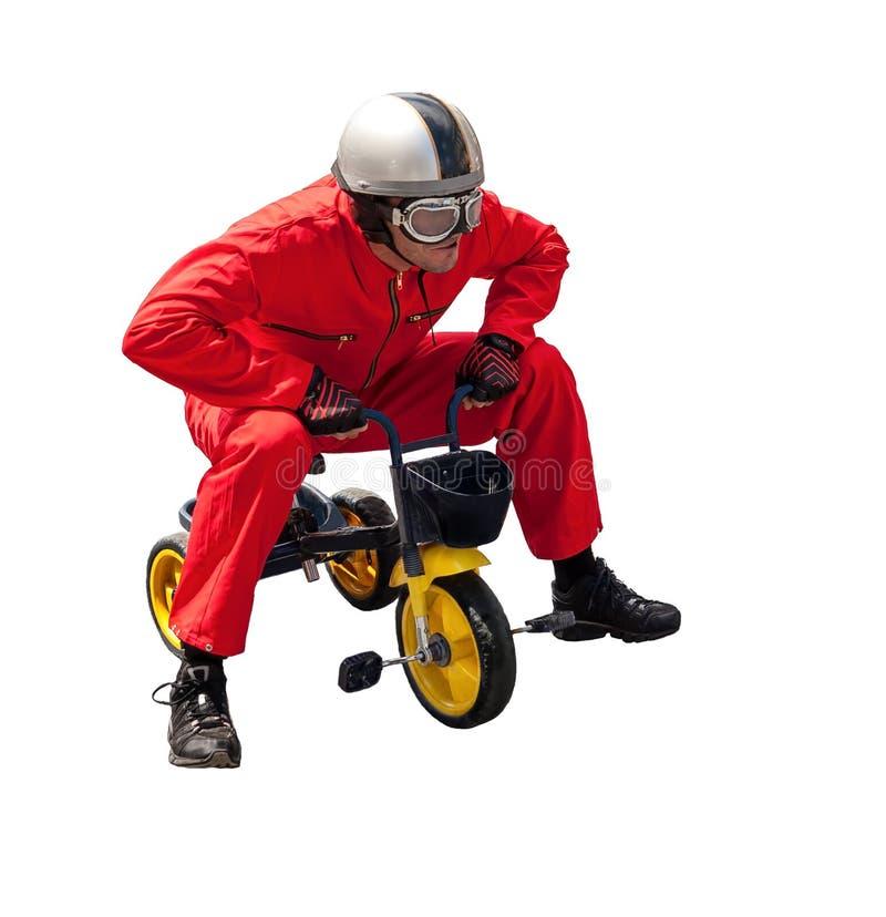Bicyclist. Aislado en un fondo blanco imagenes de archivo