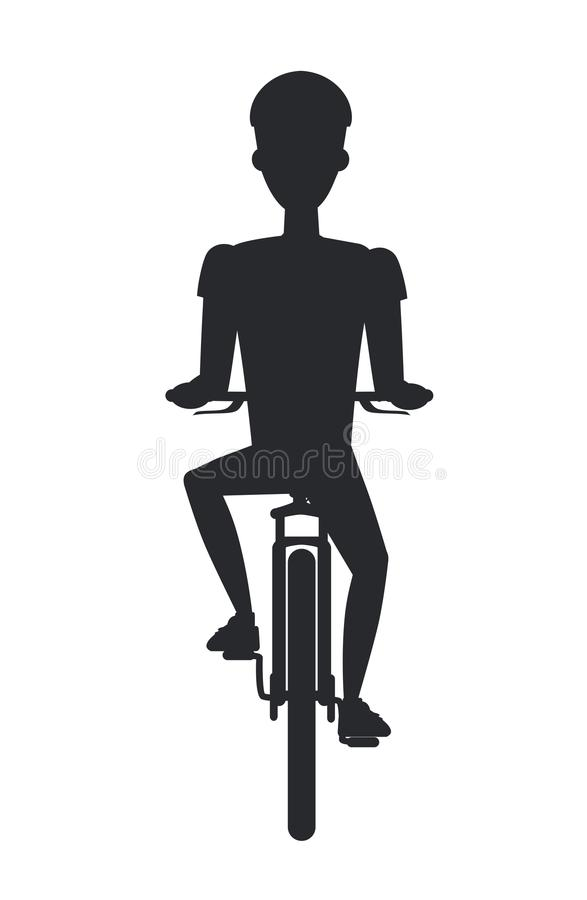 Bicyclist on Bicycle Black Silhouette Isolated White stock illustration