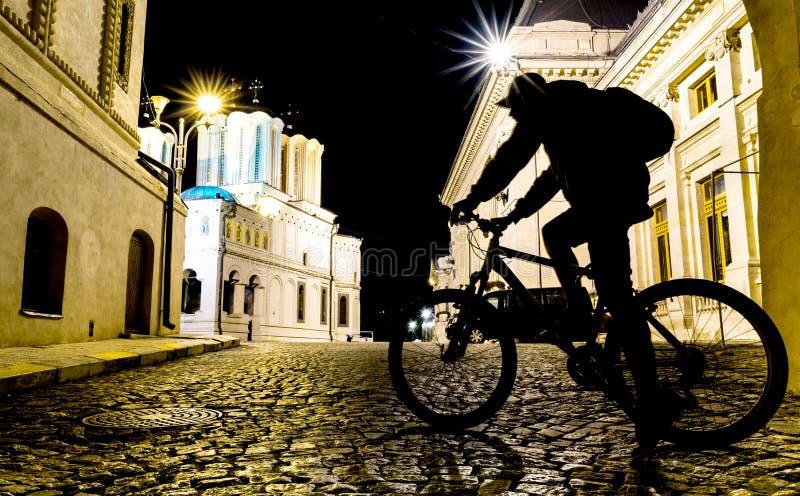 Bicyclist cień obrazy stock