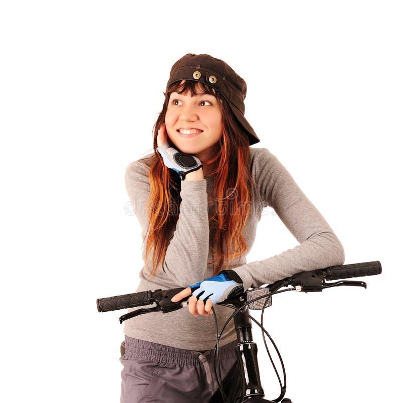 Bicyclist da mulher imagem de stock