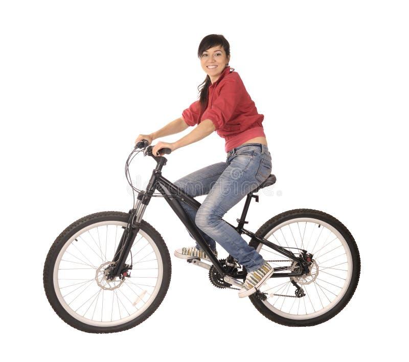 Bicyclist da mulher fotografia de stock royalty free