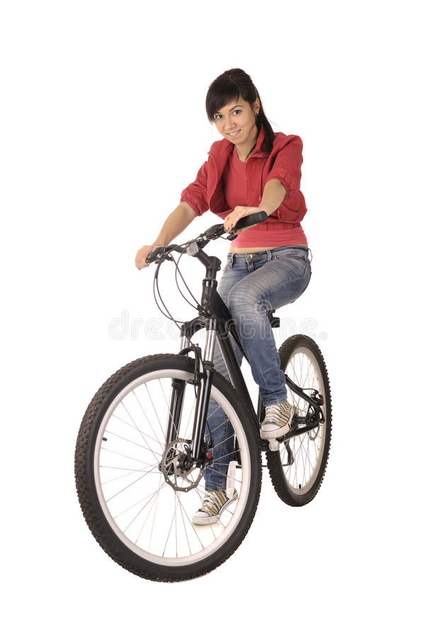 Bicyclist de la mujer fotos de archivo