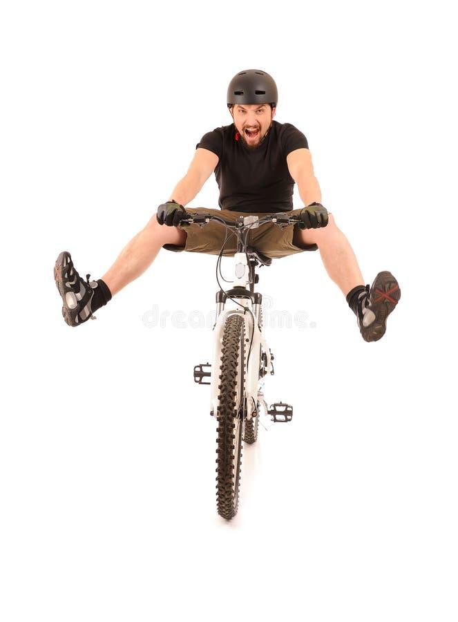 Bicyclist do divertimento no branco imagem de stock