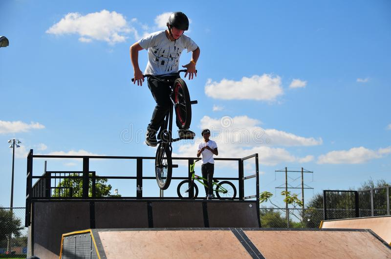 Bicyclist jump royalty free stock image