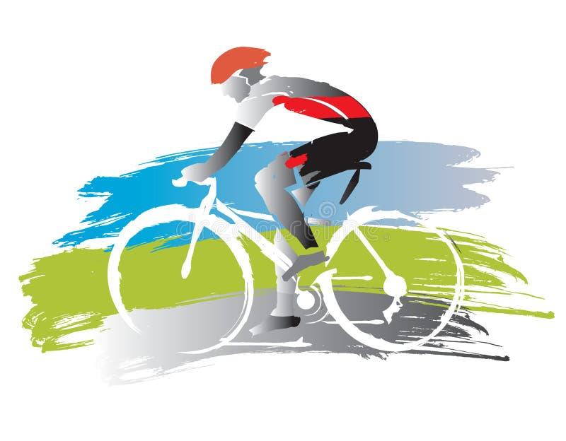 Bicyclist na grunge tle royalty ilustracja