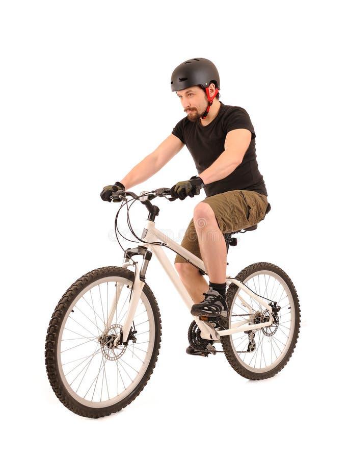 Bicyclist no branco. imagens de stock