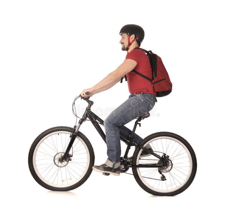 Bicyclist no branco. foto de stock royalty free