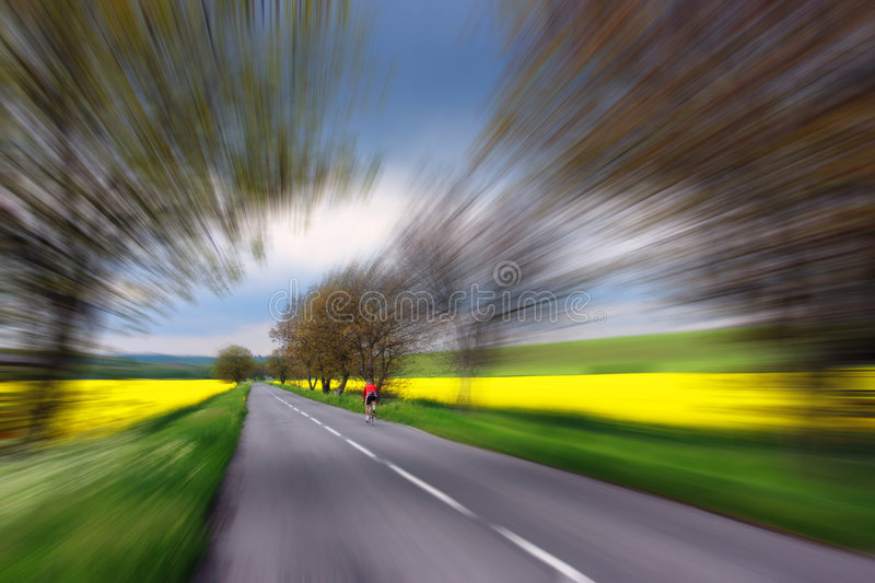 Bicyclist in red driving on rural road royalty free stock images