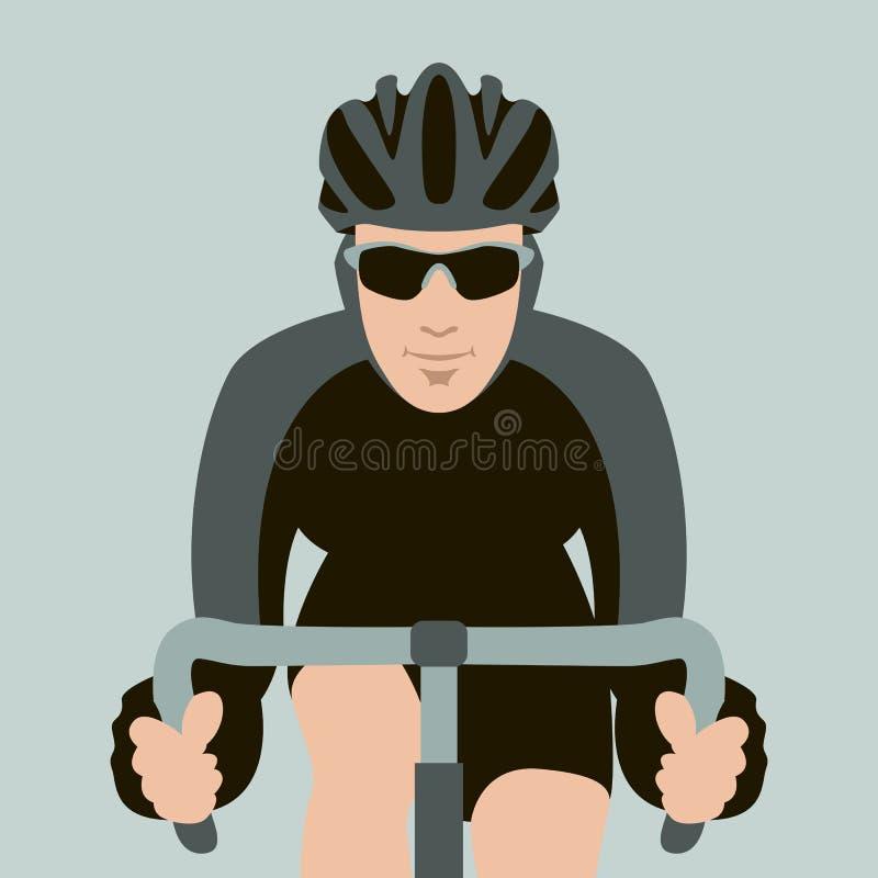 Bicyclist twarzy mieszkania stylu wektorowy ilustracyjny przód ilustracja wektor