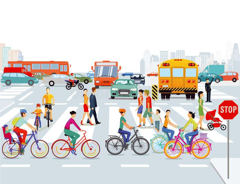 Bicyclists και πεζοί πόλεων ελεύθερη απεικόνιση δικαιώματος