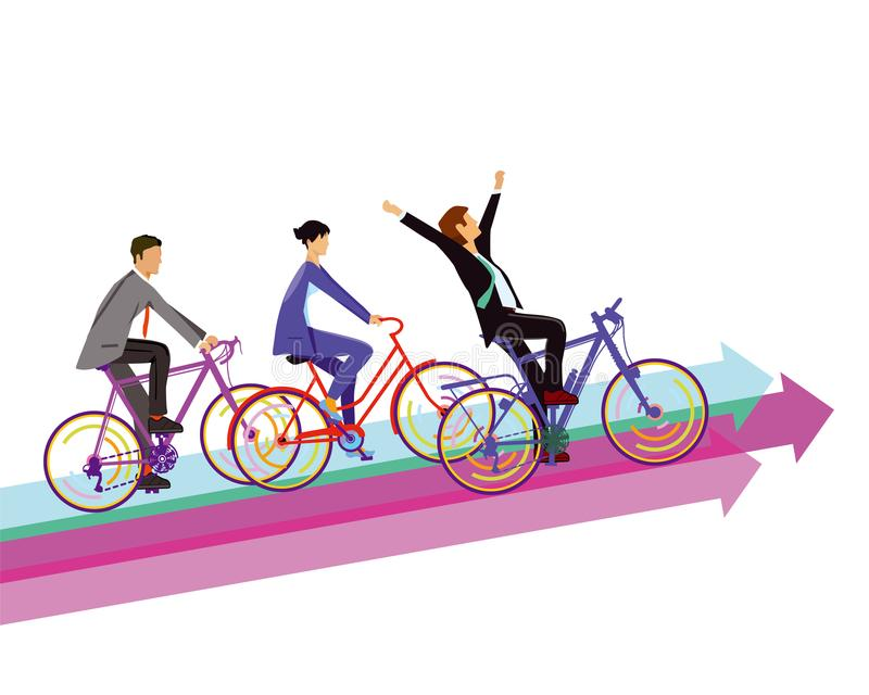 Bicyclists compete to success. Illustration of three bicyclists in a staggered line riding bicycles, the first of whom has his arms raised in triumph, on vector illustration