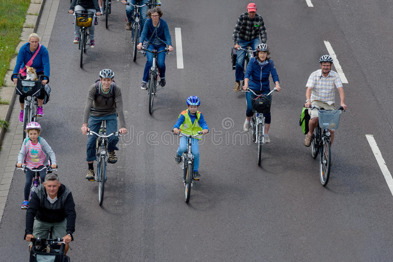 Bicyclists parade in Magdeburg, Germany am 17.06.2017. Many people ride bicycles in city center. Children are actively involved. Bicyclists parade in Magdeburg royalty free stock photos