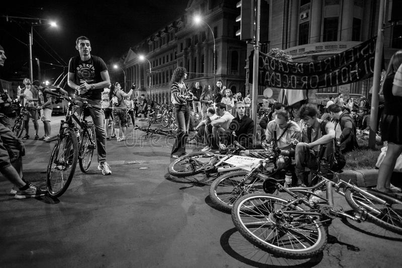 Bicyclists protest stock photography