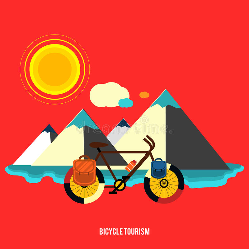 Bicykl blisko góry Rowerowa turystyka ilustracji