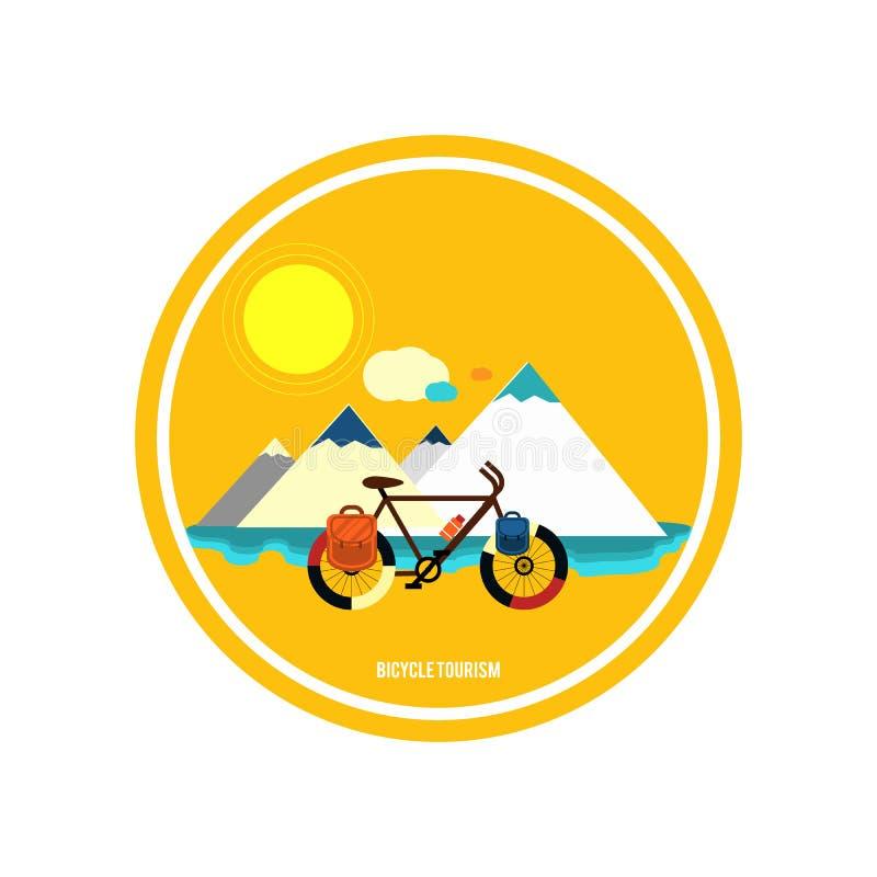 Bicykl blisko góry Rowerowa turystyka royalty ilustracja