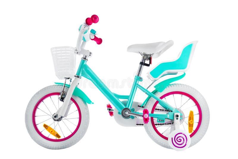 Bicykl dla dzieciaków z ścinek ścieżką odizolowywającą na białym tle fotografia royalty free