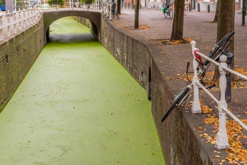 Bicykl parkujący prawidłowo przy stroną kanał w Delft holandie fotografia royalty free