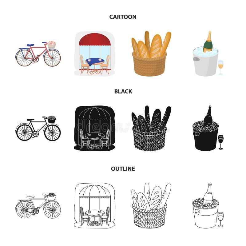 Bicykl, transport, pojazd, kawiarnia Francja kraju ustalone inkasowe ikony w kreskówce, czerń, konturu symbolu stylowy wektorowy  royalty ilustracja