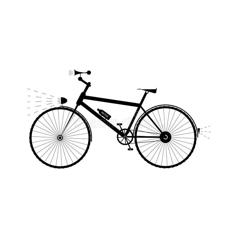 Bicykl z światłem, dźwięka rogiem i bidonem, - wektorowa ilustracja ilustracja wektor
