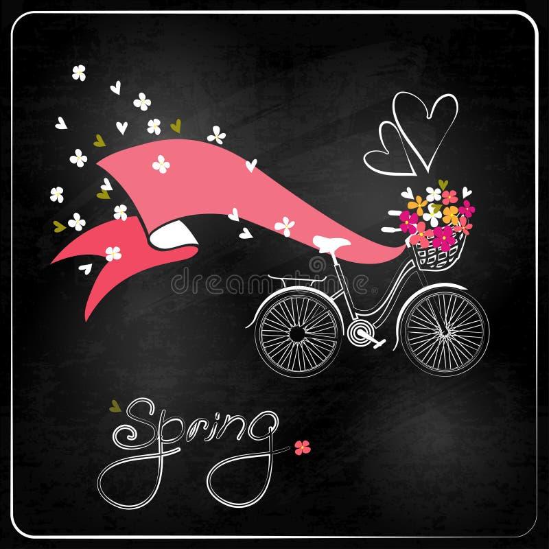Bicykl z koszem pełno kwiaty. royalty ilustracja