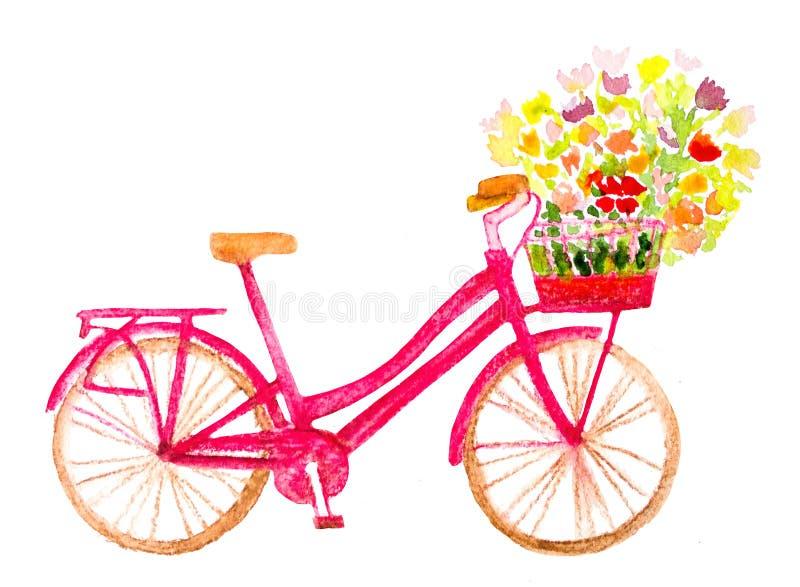 Bicykl z kwiatami ilustracji