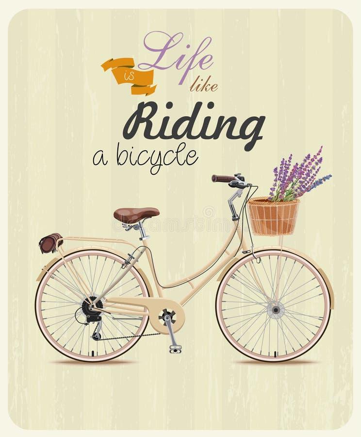 Bicykl z lawendą w koszu Plakat w rocznika stylu również zwrócić corel ilustracji wektora ilustracji
