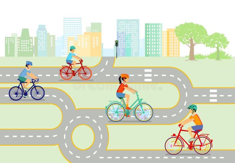 bicykli/lów dzieci royalty ilustracja
