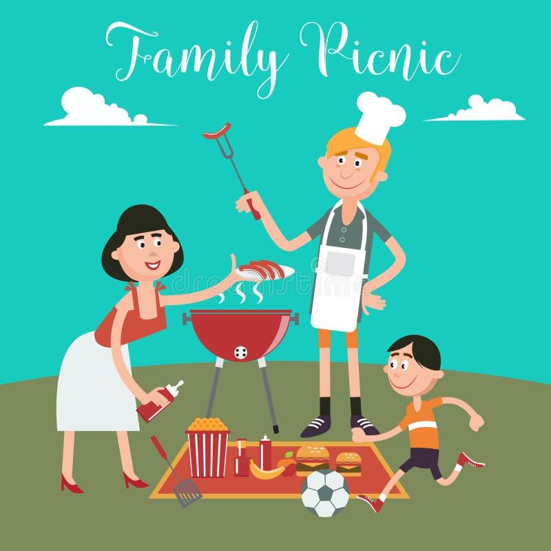 bicykli/lów dzieci rodzinny ojca weekend Szczęśliwy Rodzinny Robi grill na pinkinie ilustracji