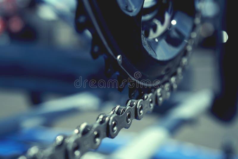 Bicyklu łańcuch i korba set na drogowym rowerze zdjęcie stock