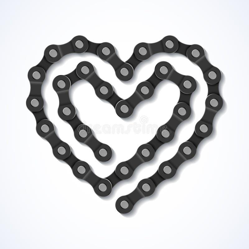 Bicyklu łańcuszkowy serce royalty ilustracja