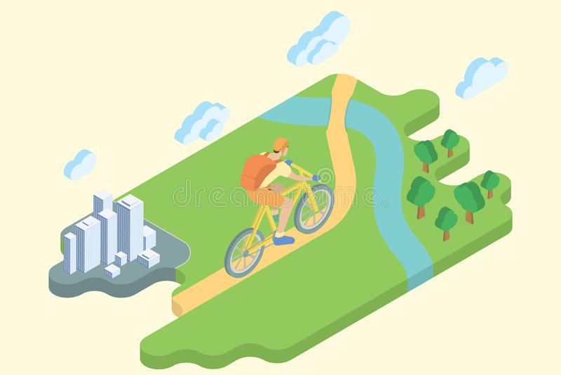 Bicyklu Szlakowy wakacje Płaska Isometric sztuka ilustracja wektor